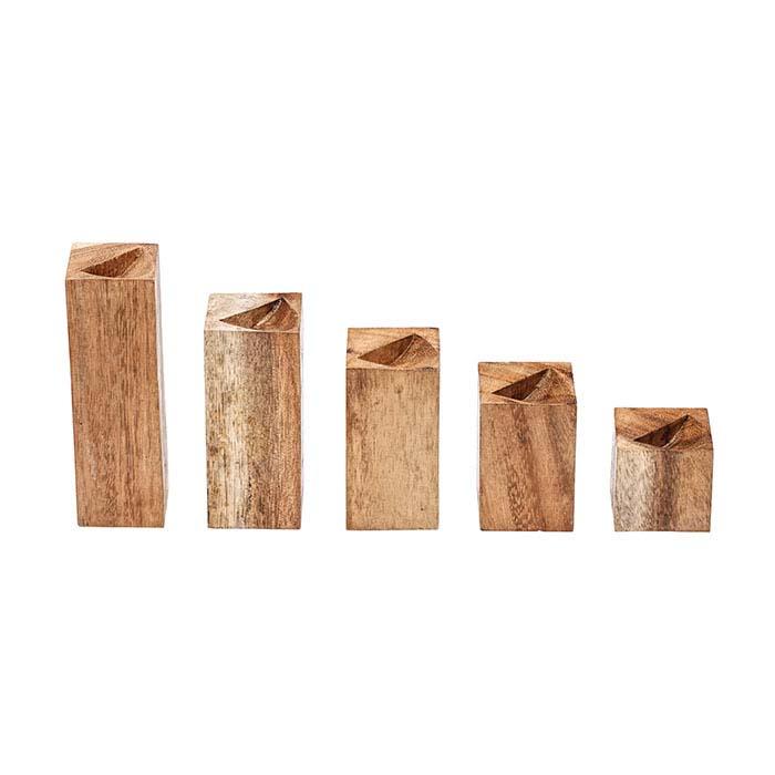 Natural Suar Wood Five-Piece Ring Block Riser Display Set