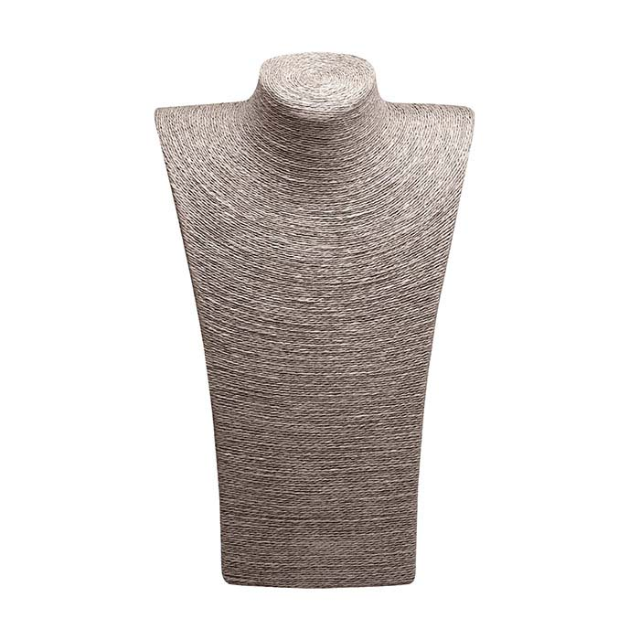 Gray Organic Paper Twine Necklace Bust Display, 14""