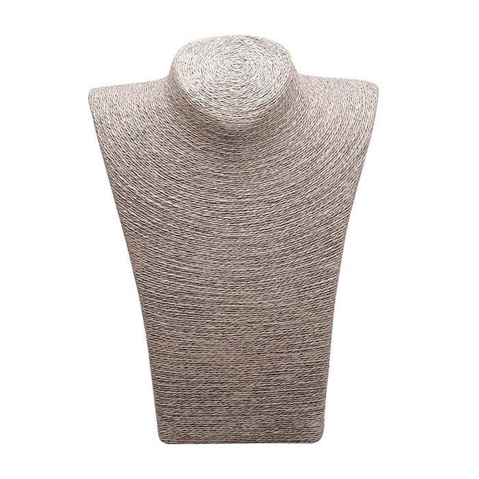 Gray Organic Paper Twine Necklace Bust Display, 11""