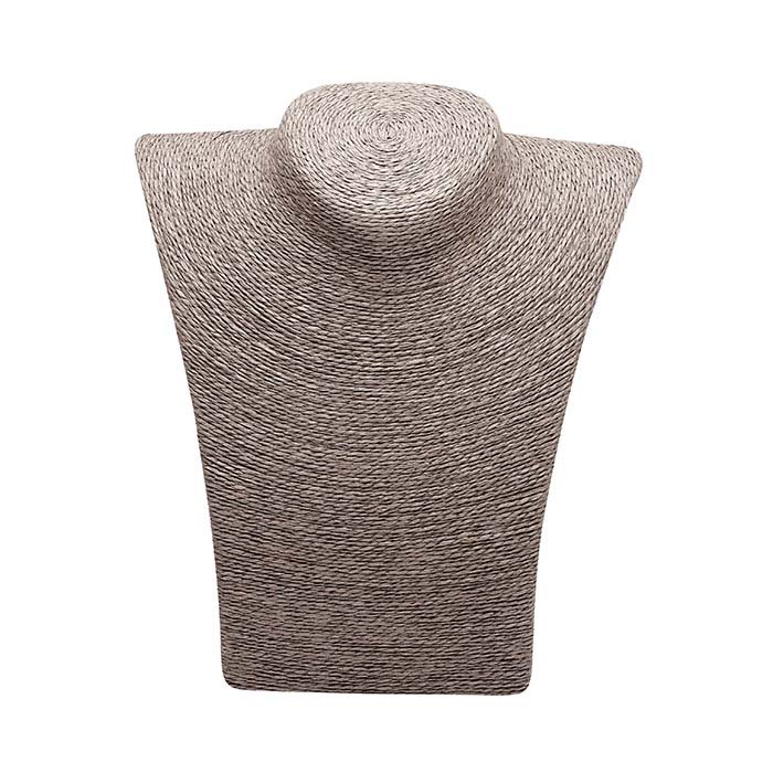 Gray Organic Paper Twine Necklace Bust Display, 8-1/2""