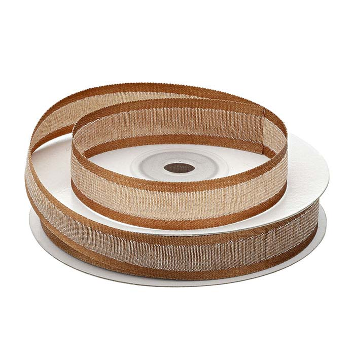Brown Faux Linen Ribbon