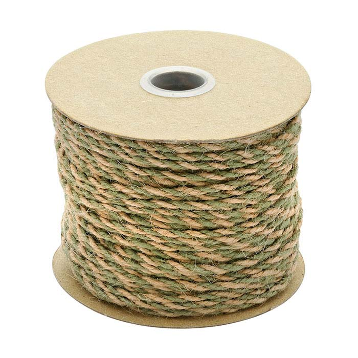 Moss and Natural Jute 2.5mm Twisted Cord