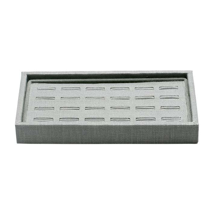 Silver Linen Slotted 24-Ring Tray