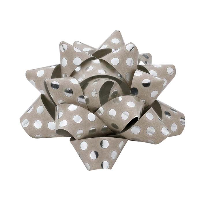 "Mini Beige with Silver Dots Paper 2"" Star Bow"