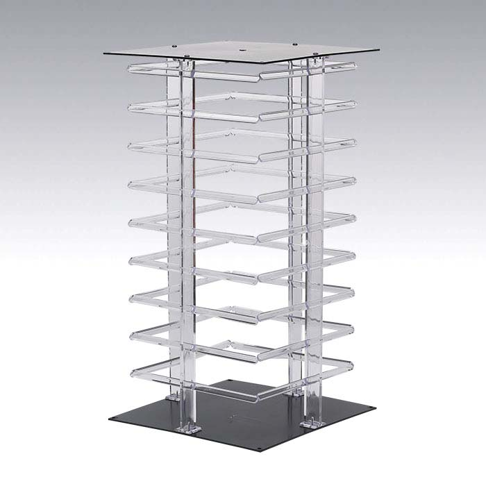 Clear Acrylic Rotating Four-Sided Hanging Card Display