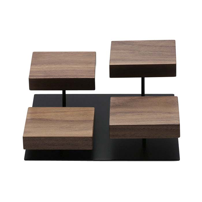Walnut and Steel Four-Tier Riser Display