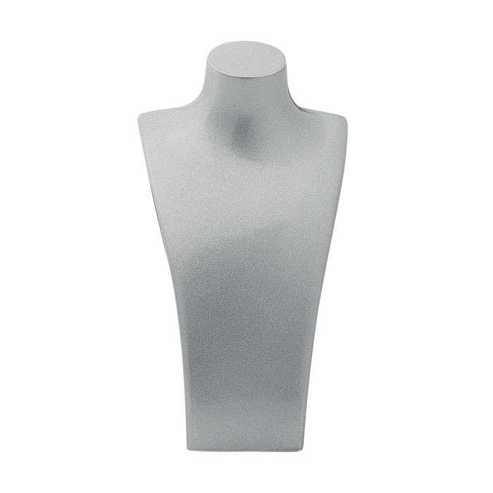 Metallic Silver Plastic Necklace Bust Displays