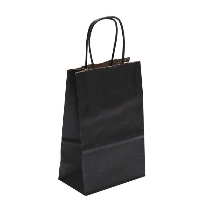 """Black Solid-Color Paper 5-1/2""""W x 3-1/4""""D x 8-1/4""""H Shopping Tote"""