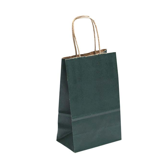 "Green Solid-Color Paper 5-1/2""W x 3-1/4""D x 8-1/4""H Shopping Tote"