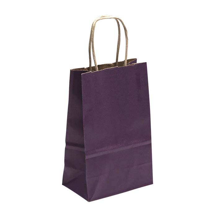"Purple Solid-Color Paper 5-1/2""W x 3-1/4""D x 8-1/4""H Shopping Tote"