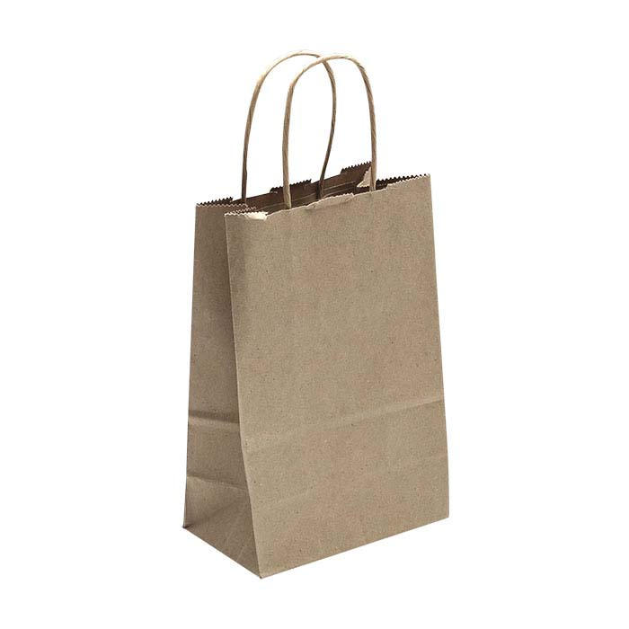 "Kraft Solid-Color Paper 5-1/2""W x 3-1/4""D x 8-1/4""H Shopping Tote"