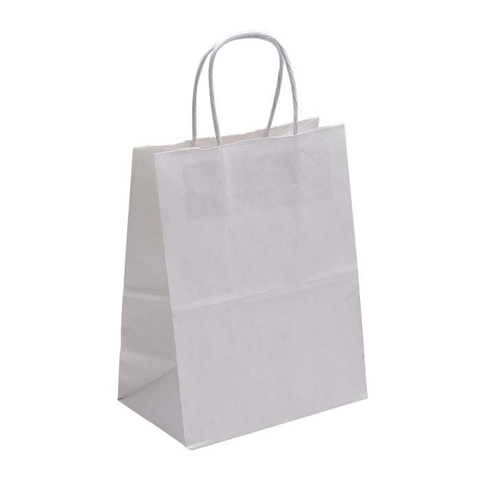 "White Solid-Color Paper 8""W x 4-3/4""D x 10-1/4""H Shopping Tote"