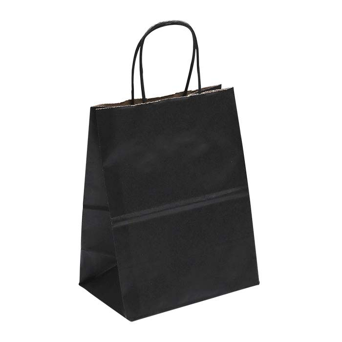 "Black Solid-Color Paper 8""W x 4-3/4""D x 10-1/4""H Shopping Tote"