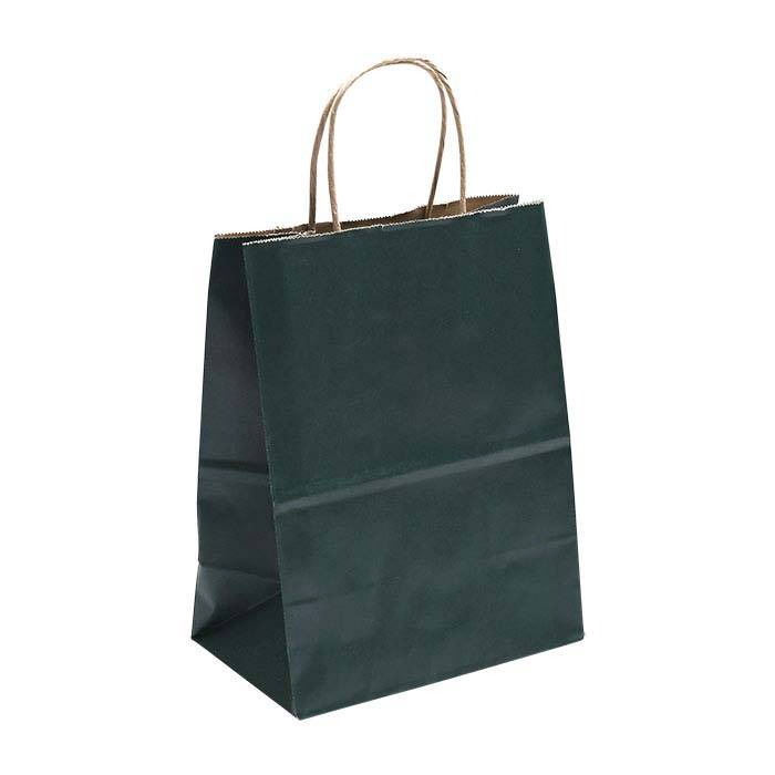 """Green Solid-Color Paper 8""""W x 4-3/4""""D x 10-1/4""""H Shopping Tote"""