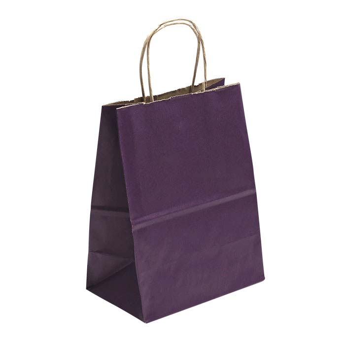 "Purple Solid-Color Paper 8""W x 4-3/4""D x 10-1/4""H Shopping Tote"