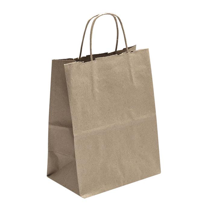 """Kraft Solid-Color Paper 8""""W x 4-3/4""""D x 10-1/4""""H Shopping Tote"""