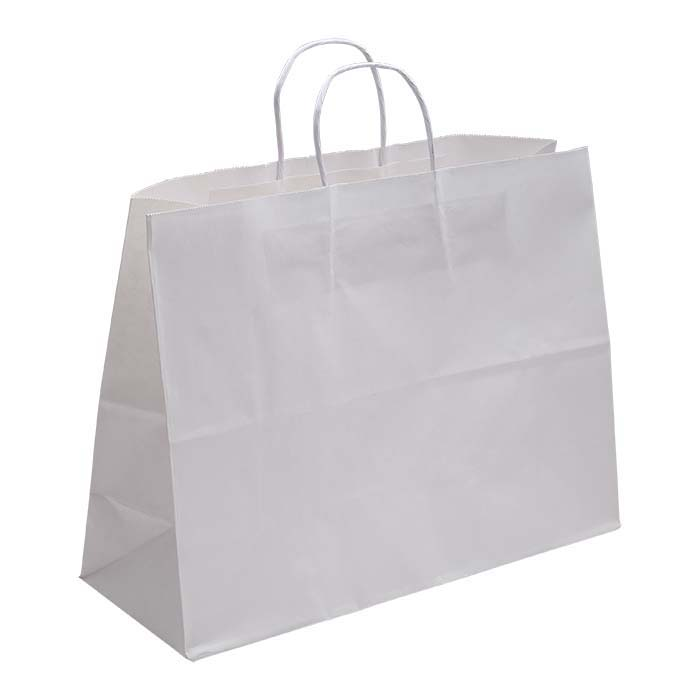 "White Solid-Color Paper 16""W x 6""D x 12""H Shopping Tote"