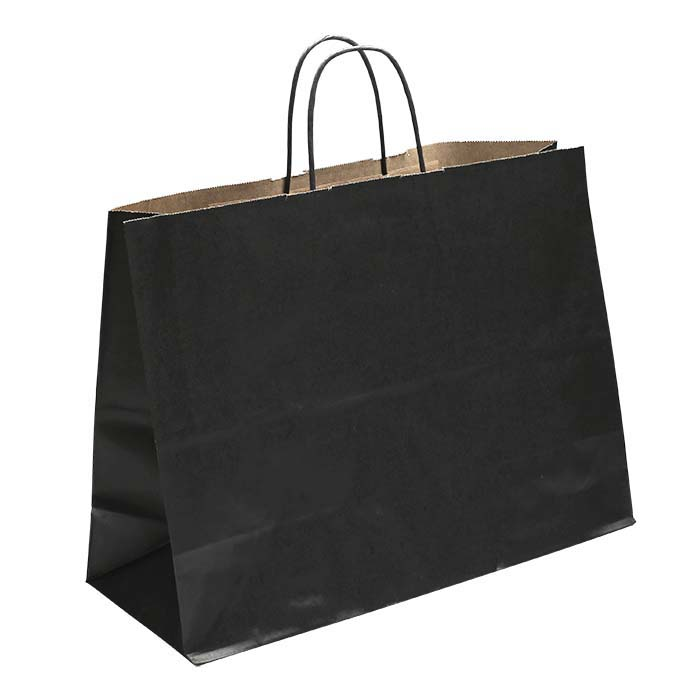 """Black Solid-Color Paper 16""""W x 6""""D x 12""""H Shopping Tote"""