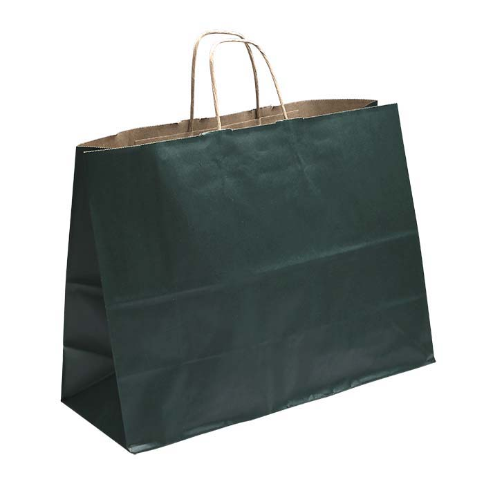 "Green Solid-Color Paper 16""W x 6""D x 12""H Shopping Tote"