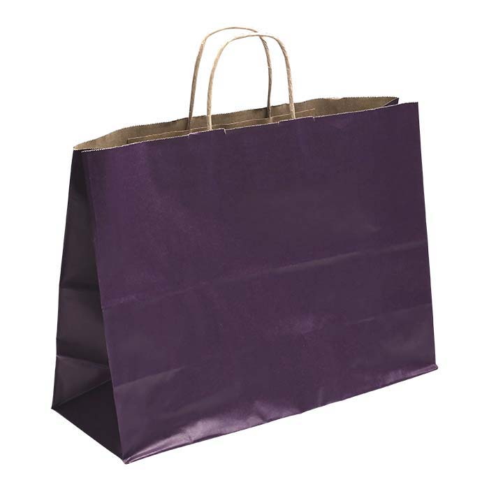 "Purple Solid-Color Paper 16""W x 6""D x 12""H Shopping Tote"