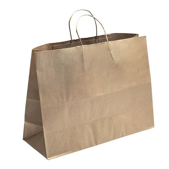 "Kraft Solid-Color Paper 16""W x 6""D x 12""H Shopping Tote"