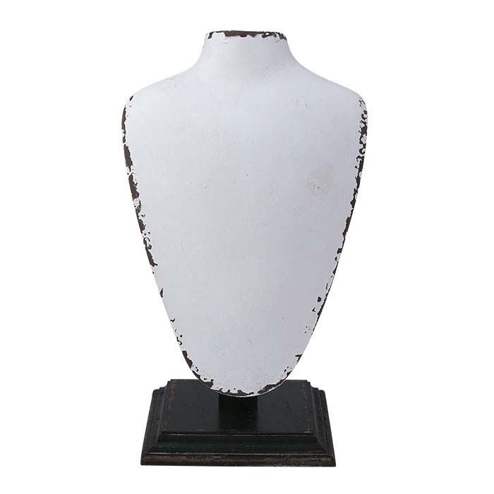 White Rustic Wood Necklace Bust