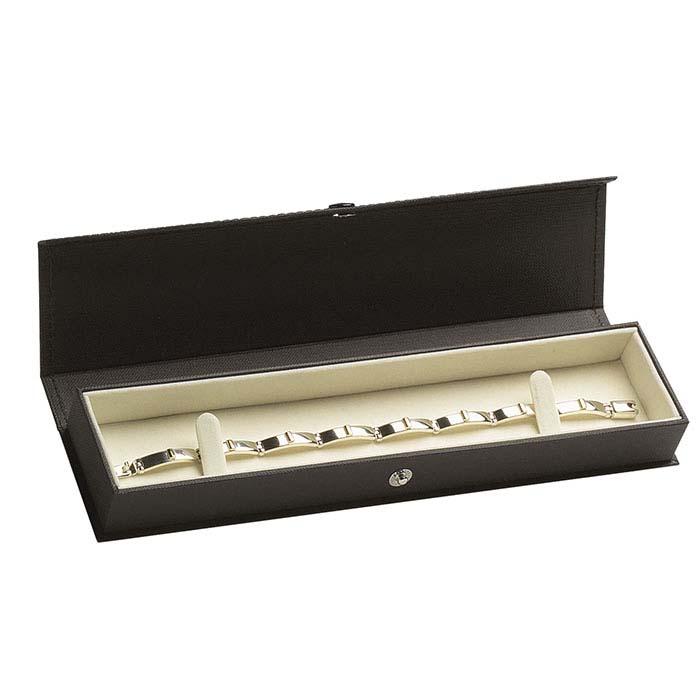 Black Linen Look Bracelet Gift Box