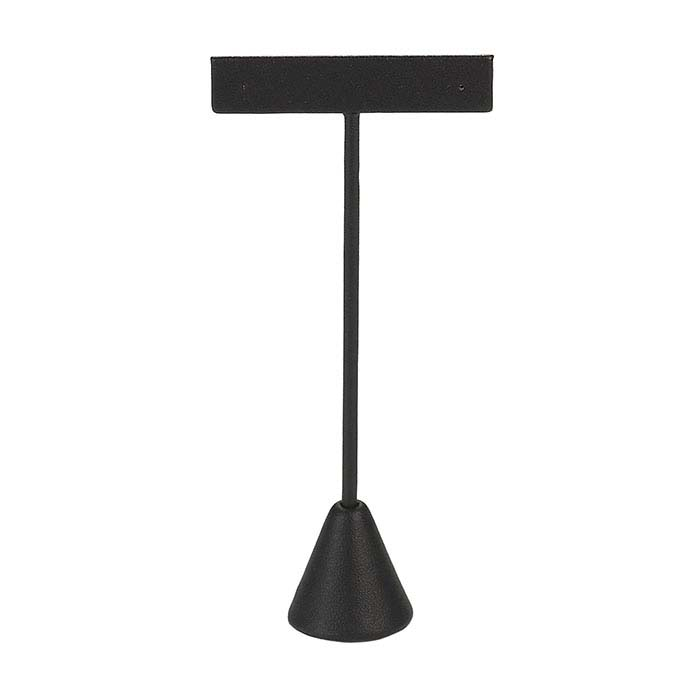 Black Faux Leather T-Stand Earring Display, 5-1/2""