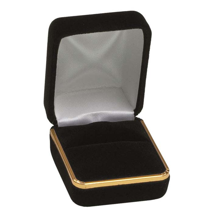 Black Velveteen Gold-Rimmed Ring Gift Box
