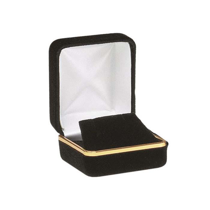 Black Velveteen Gold-Rimmed Earring Gift Box
