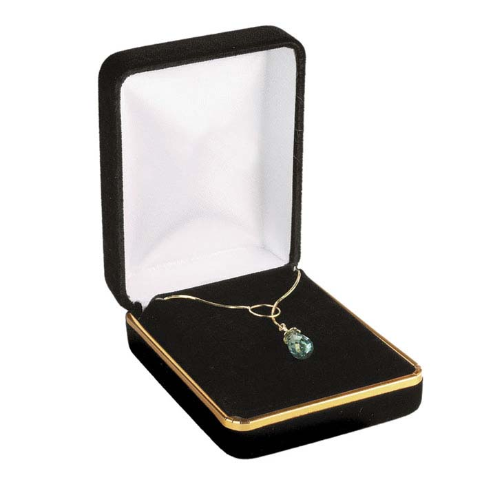 Black Velveteen Gold-Rimmed Pendant or Earring Gift Box