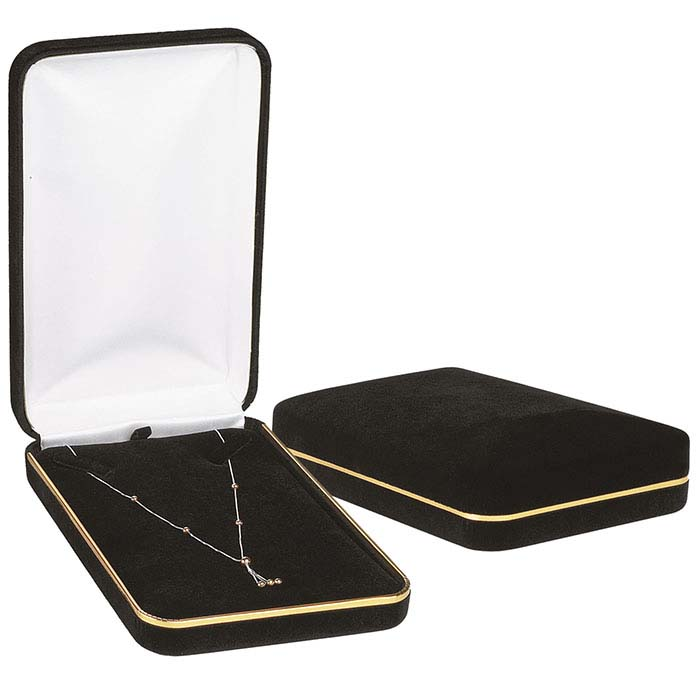 Black Velveteen Gold Rimmed Necklace Gift Box