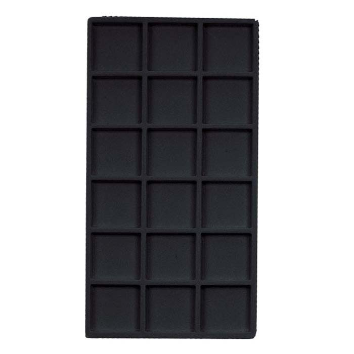 Black Flocked Plastic 18-Compartment Tray Insert