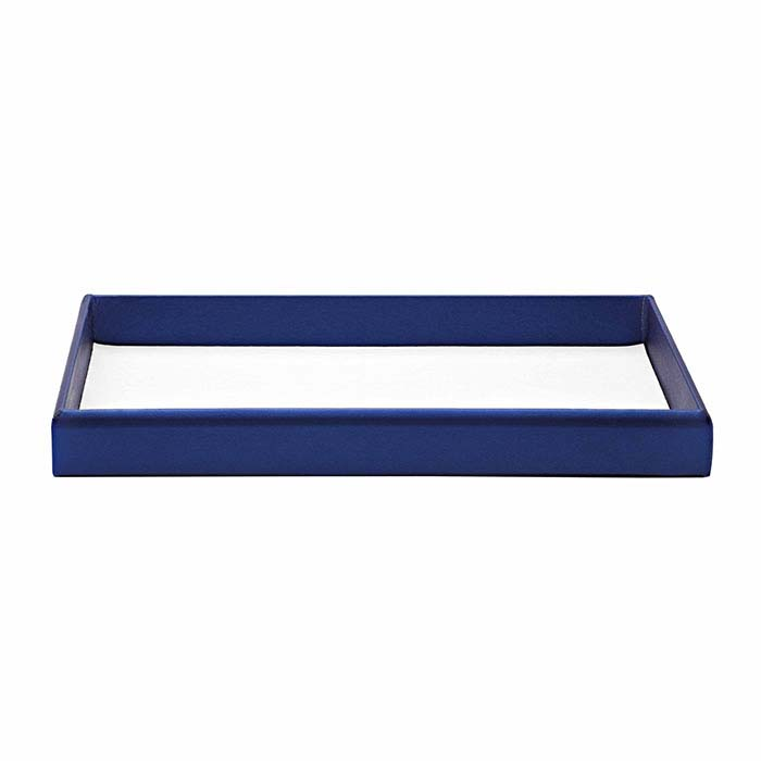 Metallic Blue Vienna Faux Leather Full-Size Tray