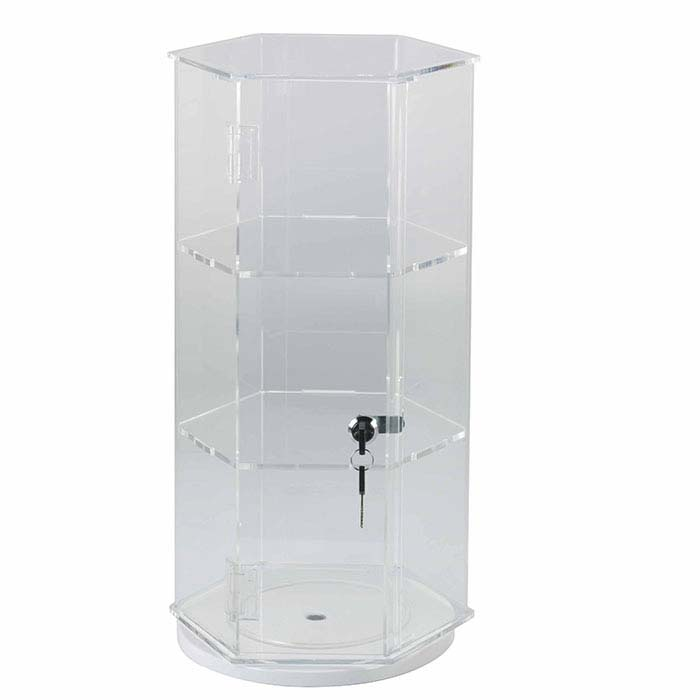 Clear Acrylic Lockable Rotating Display Case