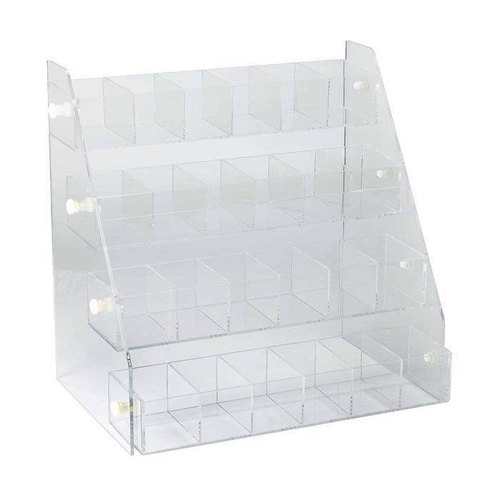 Clear Acrylic Angled Display Case, 24-Compartment