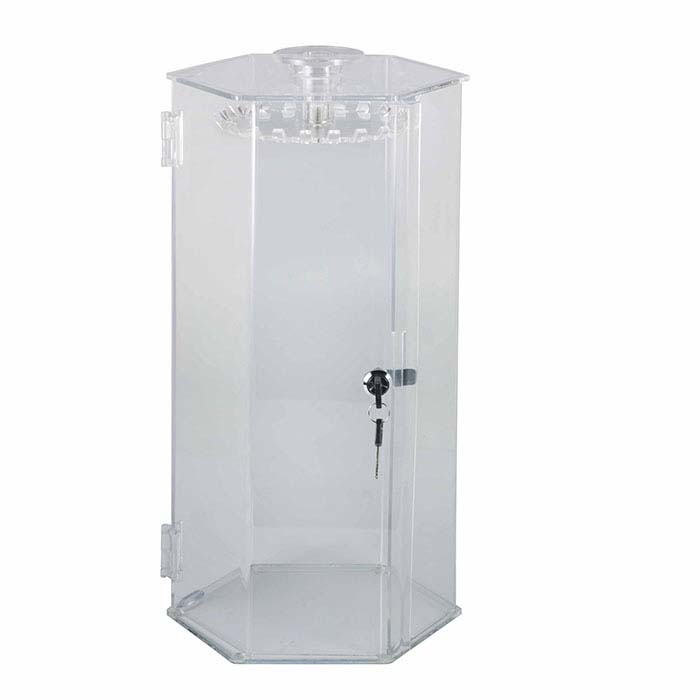 Clear Acrylic Lockable Rotating Chain Display Case