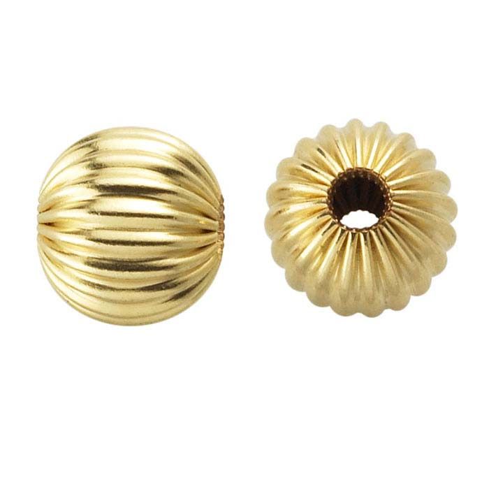 14/20 Yellow Gold-Filled Corrugated Round Beads
