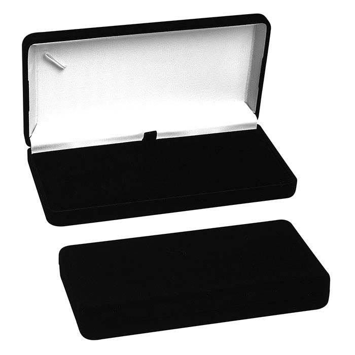 Black Flocked Velour Necklace Gift Box