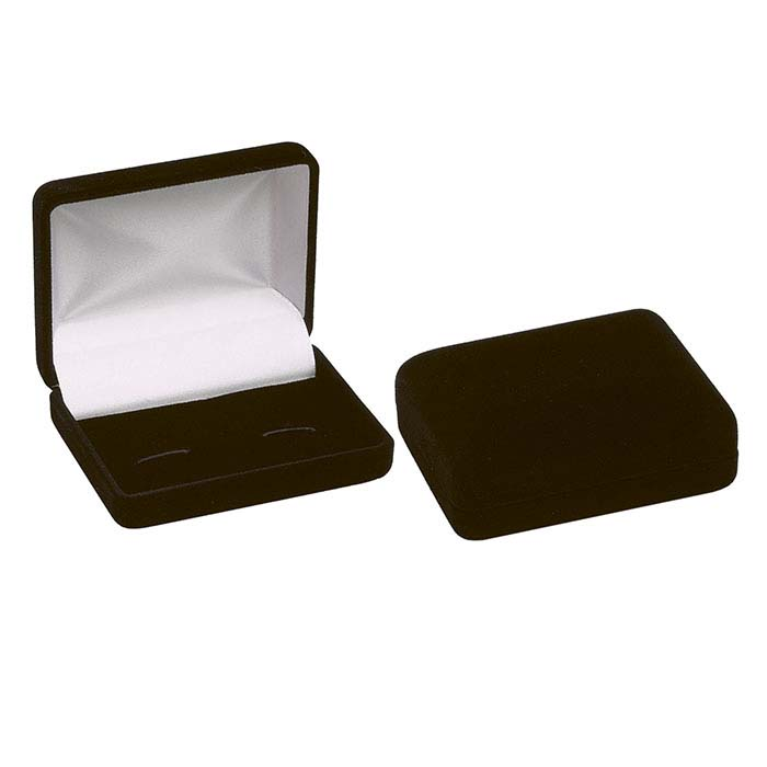 Black Flocked Velour Cuff Link Gift Box
