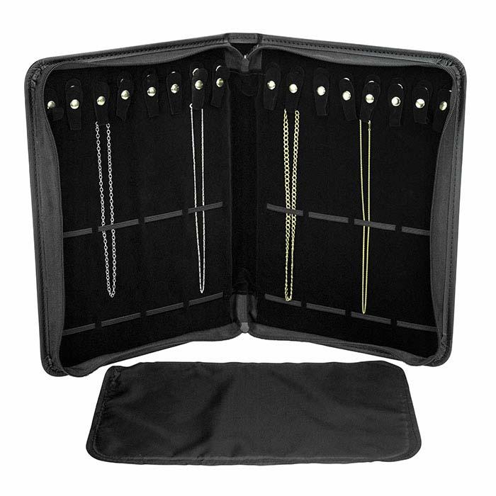 Black Faux Leather Chain Portfolio
