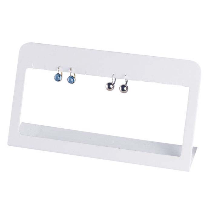 White Faux Leather Earring Bar Display
