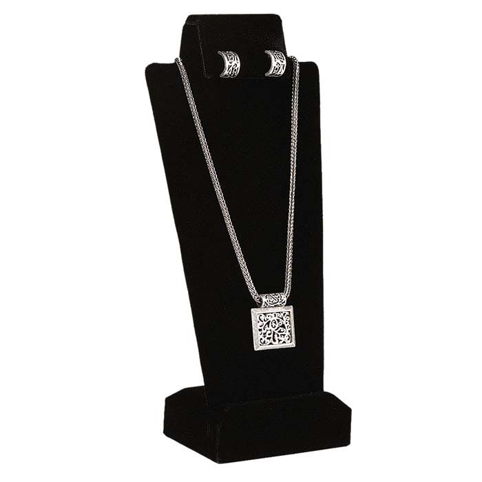 Black Velvet Combination Necklace and Earring Display