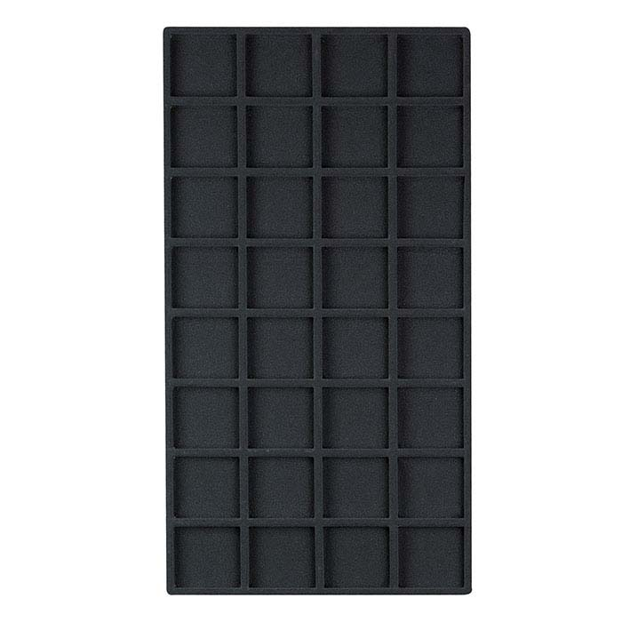 Black Flocked Plastic 32-Compartment Tray Insert