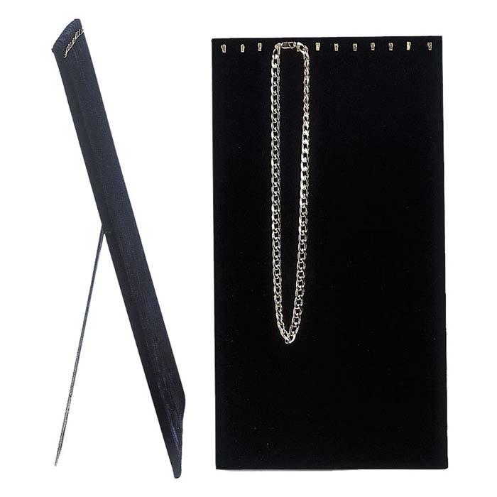 Black Velvet Chain Tray Insert with Brass Hooks and Easel