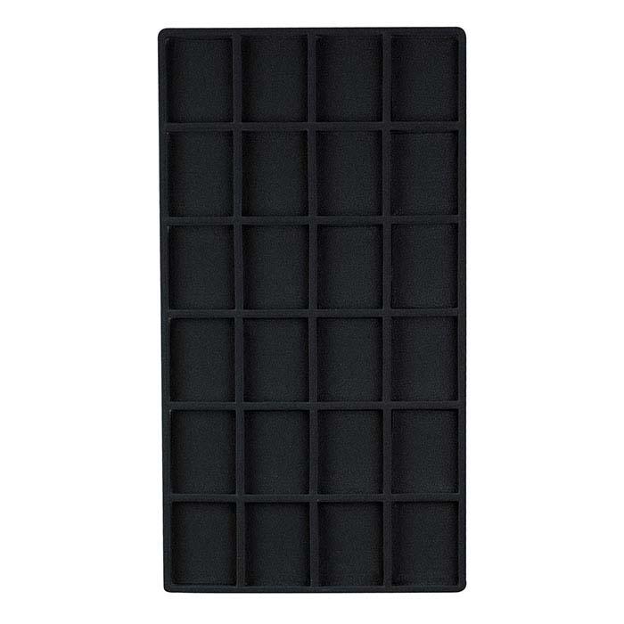 Black Flocked Plastic 24-Compartment Tray Insert