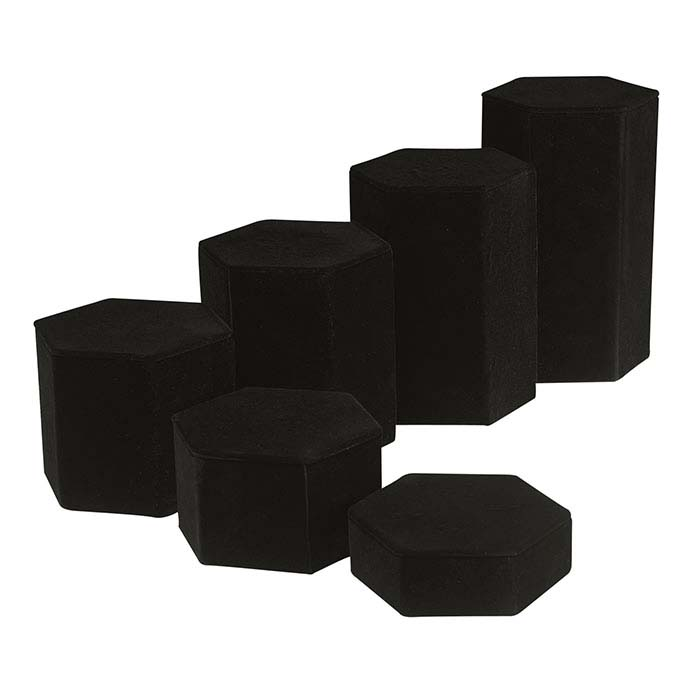 Black Velveteen Hexagonal Block Riser Display Set