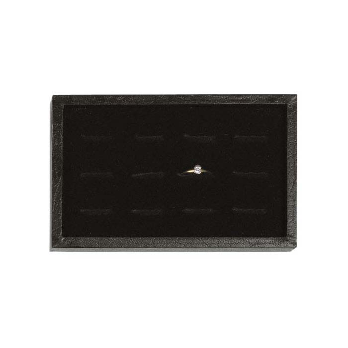 Black Textured-Paper Tray with Velour-Flocked 12-Ring Insert