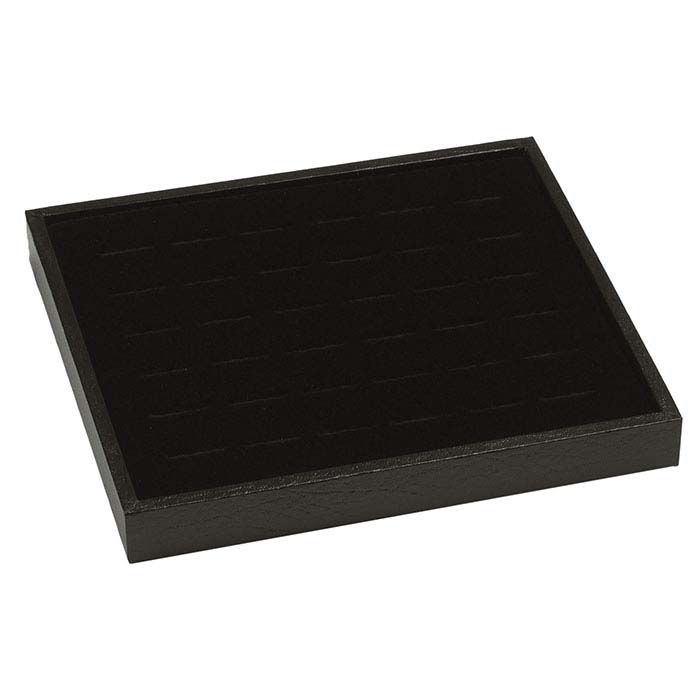 Black Textured-Paper Tray with Velour-Flocked 36-Ring Insert