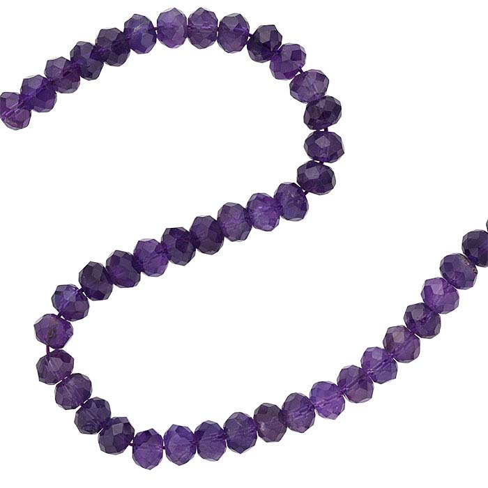 Amethyst 9 x 6mm Faceted Roundel Bead Strand